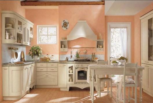 кухня персикового цвета стены