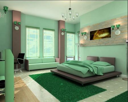 гостиная минимализм мятные цвета