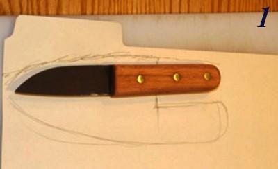 картонный шаблон для чехла из кожи для нож