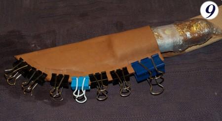 скрепление и придание формы кожаной заготовке для ножа