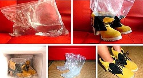 разнашиваем обувь с помощью льда