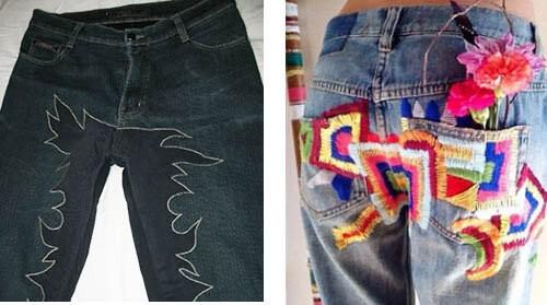 Красивая заплатка и вышивка, маскирующая пятно от месячных на джинсах