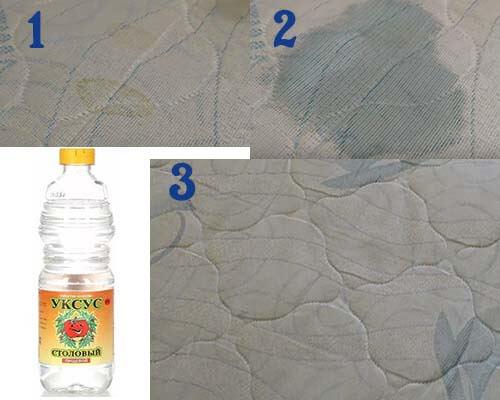 Этапы очистки матраса уксусом